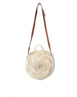 SOFIANE mini + - sac rond en osier anse en cuir