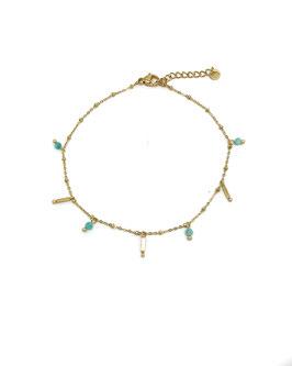 ELSA bleu - Chaine de cheville dorée