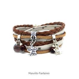 Bracelet ETOILES double tour dans les tons marrons et argenté...