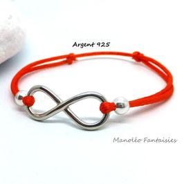 Bracelet INFINI en ARGENT et ses perles sur cordon orange...