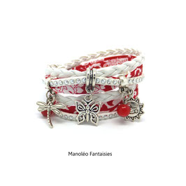 Bracelet PAPILLON, double tour et ses pampilles dans les tons rouge, blanc et argenté