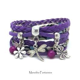 Bracelet LIBELLULE double tour, ses perles et pampilles, dans les tons violet et argenté...