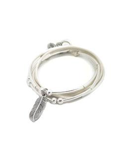 PLUME blanc- bracelet en cuir plume