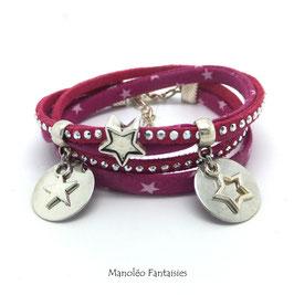 Bracelet PLUIE D'ETOILES double tour, pampilles, liens, dans les tons roses et argenté...