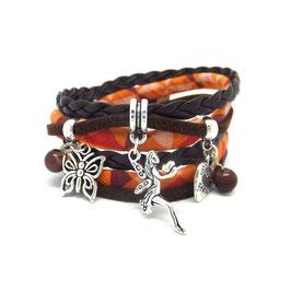 FEE Bracelet FÉE double tour, ses perles et pampilles, dans les tons marron orange et argenté...