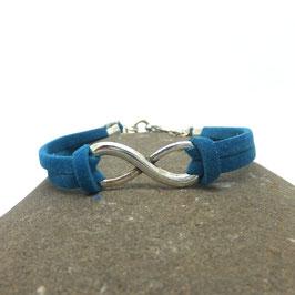 Bracelet INFINI bleu turquoise et argenté.