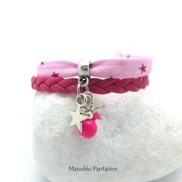 Bracelet étoiles dans les tons roses