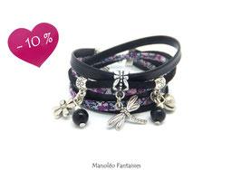 Bracelet LIBERTY double tour, ses perles et pampilles, dans les tons noirs, violets et argenté...