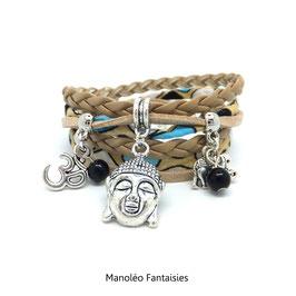 Bracelet BOUDDHA manchette 2 tours , ses perles et pampilles, dans les tons beige et argenté...