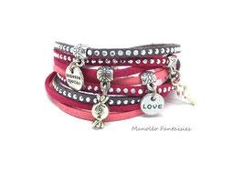 Bracelet LOEVA double tour, 4 liens suédine, dans les tons gris, roses et argenté...