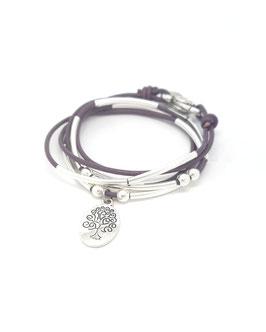 FAMILLE violet ♥ Bracelet en cuir arbre de vie