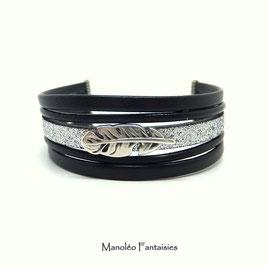 Bracelet  PLUME Cuir et ses paillettes