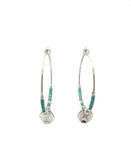LORYS turquoise ♥ Créoles argent perles et médaille