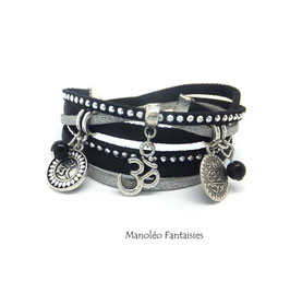 Bracelet ZEN double tour, ses perles et sequins argentés, dans les tons noir, gris et argenté...