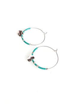 MALO turquoise- Créoles argent perles et médaille