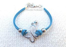 """Bracelet """"papillon vole..."""" bleu canard et argenté..."""