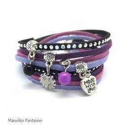 Bracelet LOEVA double tour, 4 liens suédine, dans les tons noirs, violets et argenté...