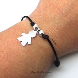 """Bracelet '' P'tit gars"""" en argent 925/1000 sur cordon..."""