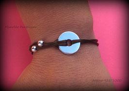 """♥ ARGENT ♥ Bracelet ''Disque 15 mm"""" en argent 925/1000 sur cordon marron."""