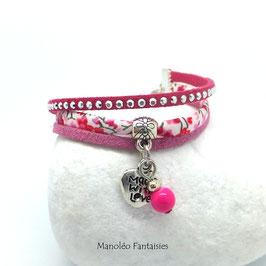 Bracelet liberty PAMPILLE coeur, suédine dans les tons roses, fuchsias et argentés...