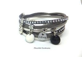 Bracelet LOEVA double tour, 4 liens suédine, dans les tons gris, blanc et argenté...