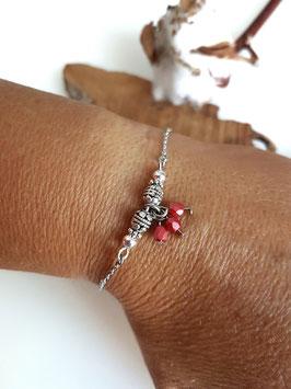MIO - Bracelet fin rouge corail foncé