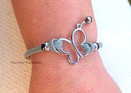 """Bracelet """"papillon vole..."""" gris et argenté..."""
