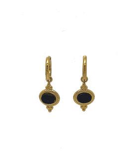 JIL - minis créoles dorées et pierre noire