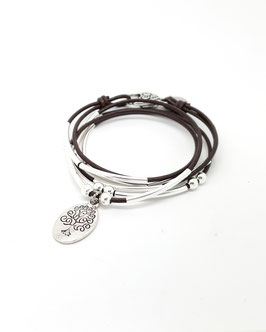 FAMILLE marron ♥ Bracelet en cuir médaille arbre de vie ovale