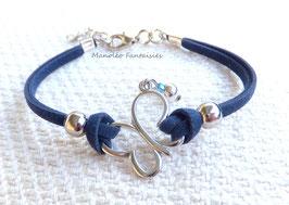"""Bracelet """"papillon vole..."""" bleu marine et argenté..."""