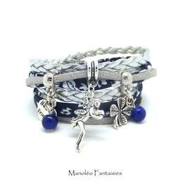 Bracelet FÉE double tour, ses perles et pampilles, dans les tons gris, liberty bleu marine et argenté...