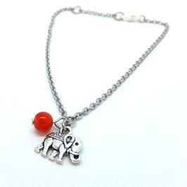 Chaîne de cheville ELEPHANT et sa perle de couleur au choix