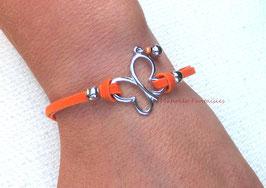 """Bracelet """"papillon vole..."""" orange et argenté"""