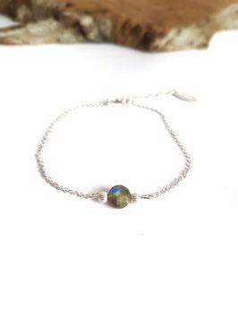 CELYO - Bracelet en argent pierre labradorite ronde