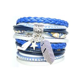 PLUME bleu- Bracelet manchette liberty clair multitours -50%