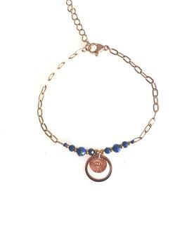 ROY bleu - bracelet doré