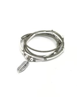 PLUME gris ♥ bracelet en cuir