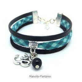 Bracelet PAMPILLES OM, tissu vichy, cuir et suédine dans les tons turquoises et noirs...