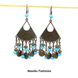 Boucles d'oreilles HAPPY de couleur bronze et perles turquoises...