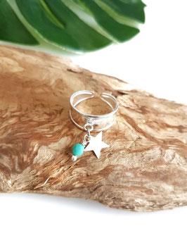 Bague argent ETOILE perle turquoise