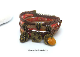 Bracelet AMOUR double tour, pampilles, sequin, liens, dans les tons café, orange et bronze...