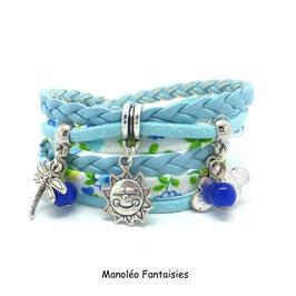 SOLEIL - Bracelet liberty bleu clair