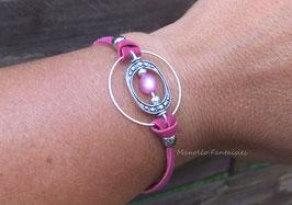 Bracelet rose pendentif anneaux et perle polaris