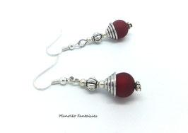 Boucles d'oreilles ONESA ethniques, perles argentées et rouges...