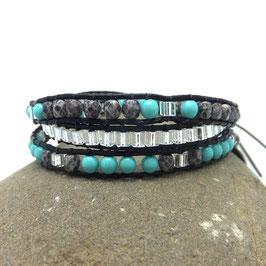 Bracelet manchette wrap ICEBERG 3 tours cuir et perles gris et turquoise