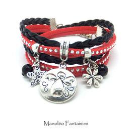 Bracelet ANGE double tour, ses perles et pampilles, dans les tons noir, corail et argenté...