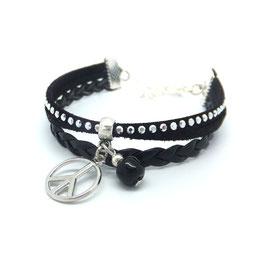 Bracelet manchette PEACE dans les tons de noirs et argenté...