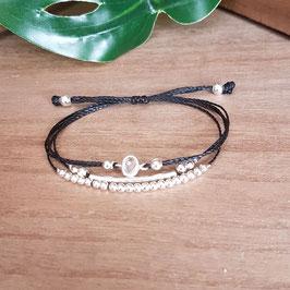 KELSO noir - Bracelet strass cordon réglable