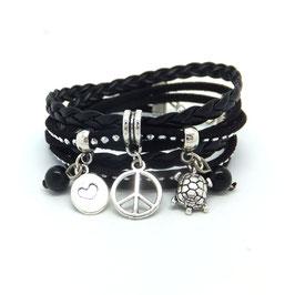 Bracelet PEACE and LOVE double tour et ses pampilles dans les tons noir et argenté