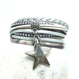 Bracelet ORION, ses étoiles, son pompon, gris et argenté
